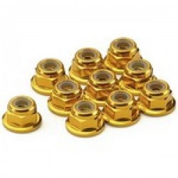 ANSMANN RACING 203000031  Aluminio Nylon Nut W.Flange Gold 2mm