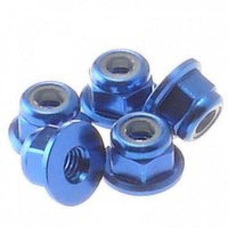 HIRO SEIKO 69238 3 mm Alloy Flange nylon nut (5pcs) Y-blue