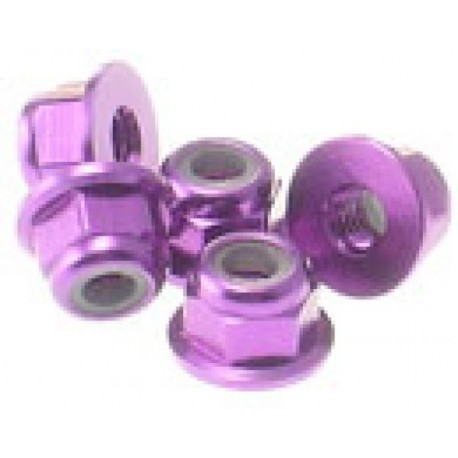 HIRO SEIKO 69239 3 mm Alloy Flange nylon nut (5pcs) purple