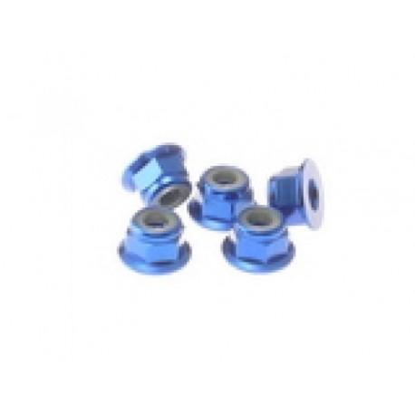HIRO SEIKO 69244 5 mm Alloy Flange nylon nut (5pcs) Y-blue