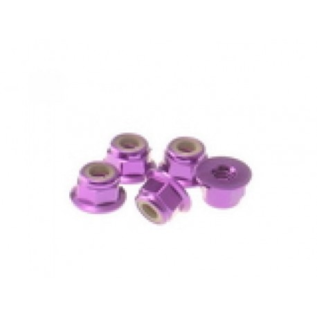 HIRO SEIKO 69245 4 mm Alloy Flange nylon nut (5pcs) purple