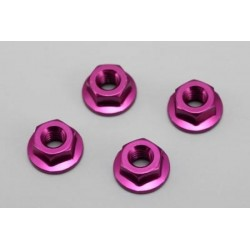 YOKOMO ZC- N4FP Aluminum Flanged Nut (Purple 4pcs) BD5