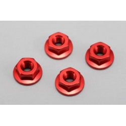 YOKOMO ZC- N4FR Aluminum Flanged Nut (Red 4pcs)