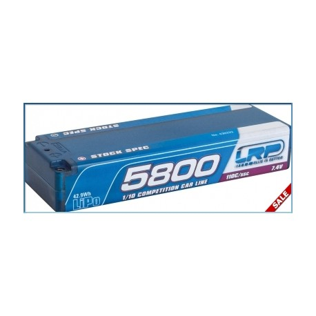 LRP 430222 BATERIA 5800 TC Stock Spec - 110C/55C - 7.4V LiPo - 1/10 Competition Car Line Hardcase