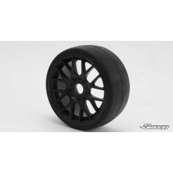 Sweep 1:8 GT Tires 45 Shore Slick Pre-Glued Black Wheel (2 pcs)