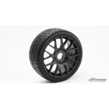 Sweep 1:8 GT Tires 45 Shore Treaded Pre-Glued Black Wheel (2 pcs)