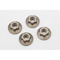 Aluminum Large-diameter Flanged Nut _Serrate_4pcs)