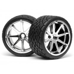 HPI RACING 4729 MOUNTED PHALTLINE TIRE 140x70mm on BLAST WHEEL CHROME